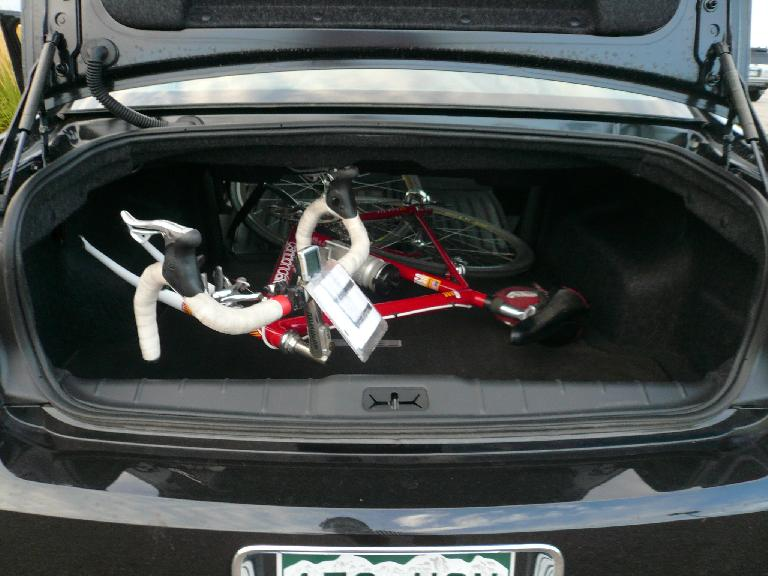 To get my bike over the start I rented a 2010 Chevy Malibu for the weekend.  Great American car and my Cannondale easily fit with the front wheel off and the car's back seat down.