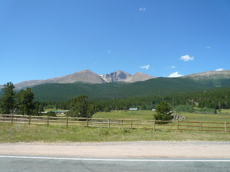 [Mile 74, 11:28am] Longs Peak.  One day I will climb it on foot.