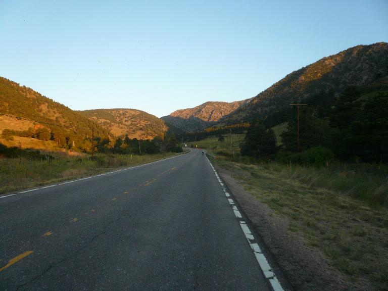 [Mile 18, 6:27am] Starting up the climb through Coal Creek Canyon.