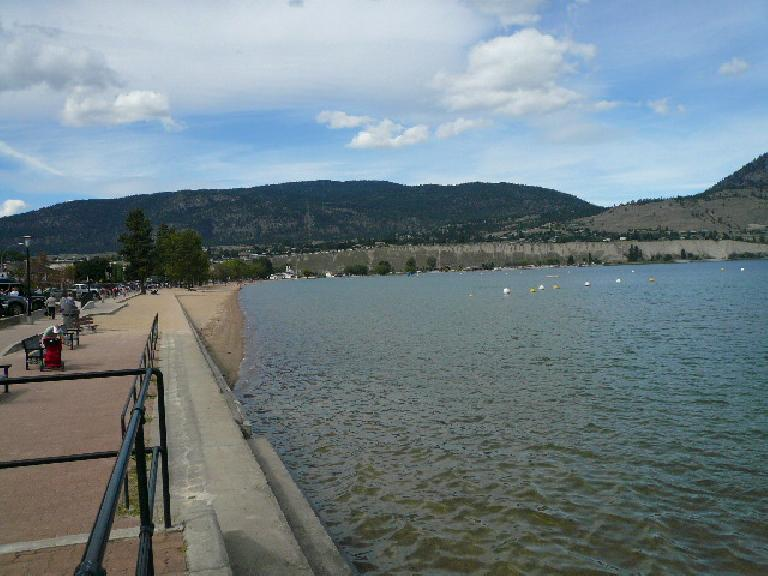 The day before the race we went for a swim in Lake Okanagan.  The water was a comfortable temperature to swim in without a wetsuit (at least for half an hour).