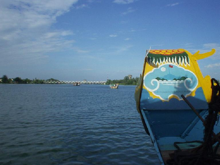 Cruising on a dragon boat on the Perfume River.