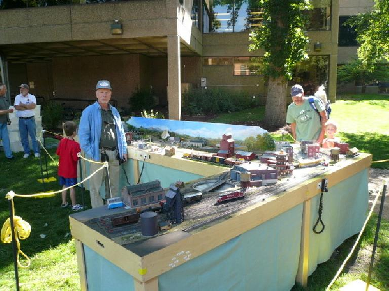 A model train set at Pet Fest in Library Park in Fort Collins.