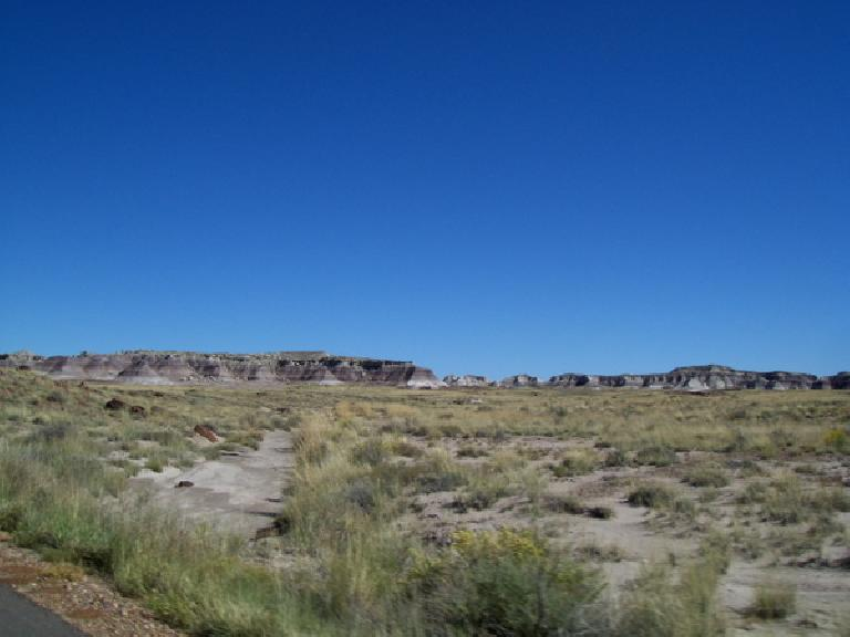 Approaching some sediment formations in the Petrified Forest.  Hard to imagine this was a forest at one point.