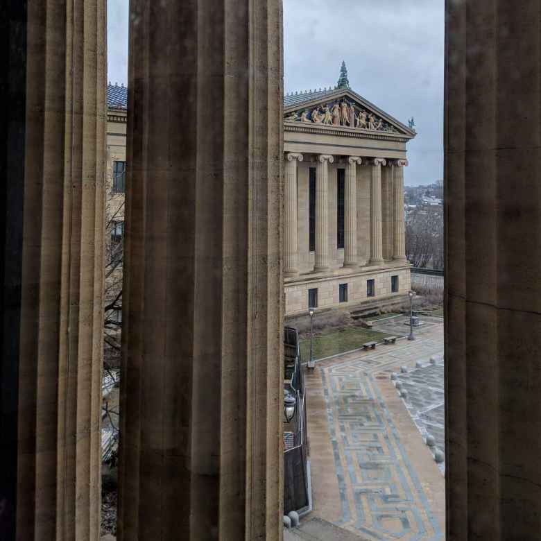 The Philadelphia Museum of Art, as seen through its coluns.