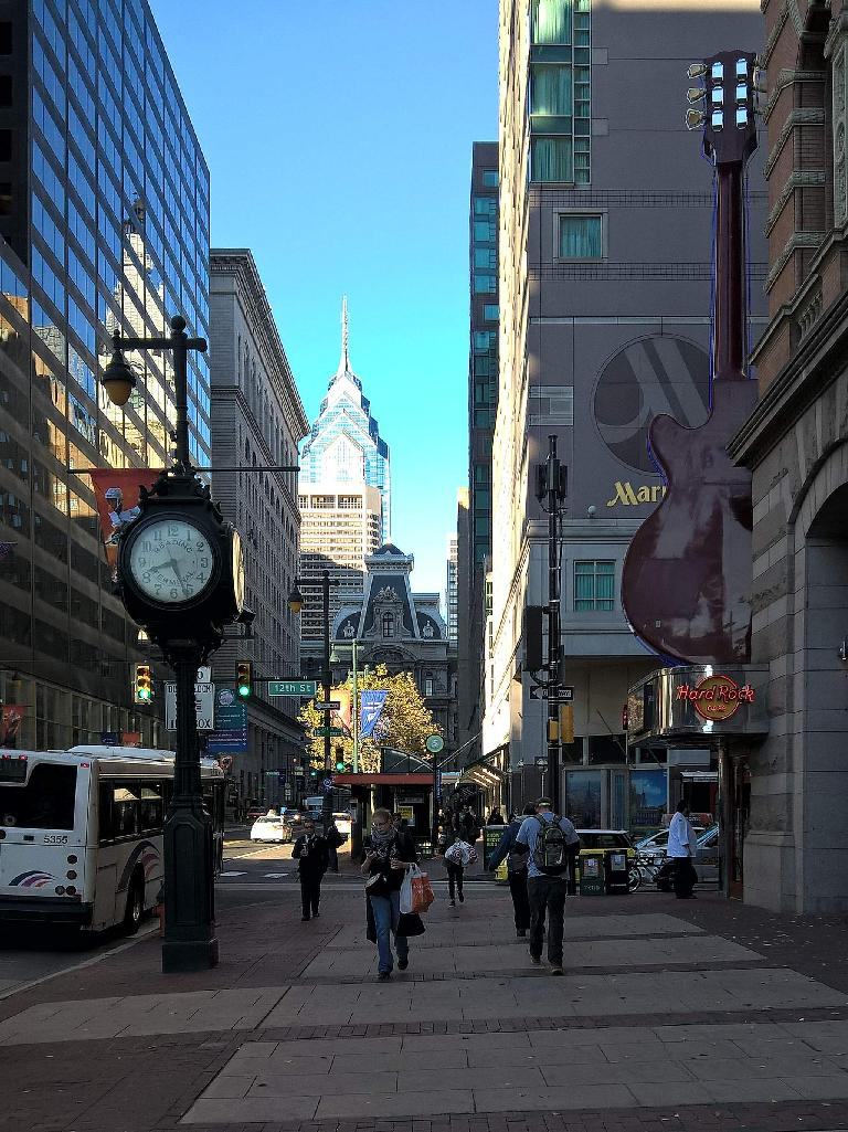 Walking past the Hard Rock Café in downtown Philadelphia.