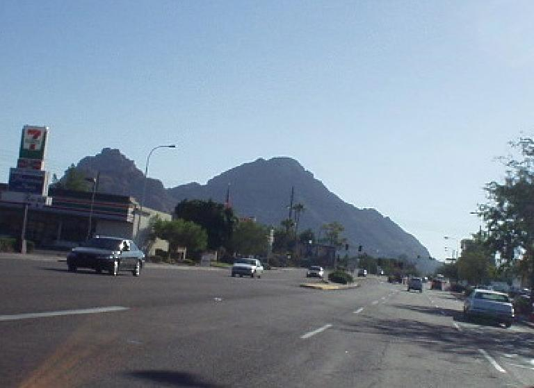 This is Camelback Mountain -- appropriately named as it does look like a camel, yes?  Esther and I went hiking up it Saturday morning, and it was already baking by 9:00am.