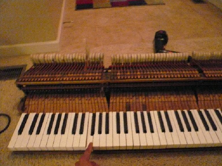 The piano keyboard removed from my 1924 Chicago Cable Company baby-grand piano.