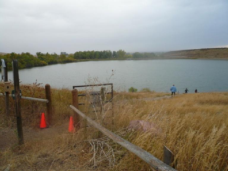 Descending down towards the Dixon Reservoir on an overcast, windy morning during the Pineridge 4-Mile Trail Run.