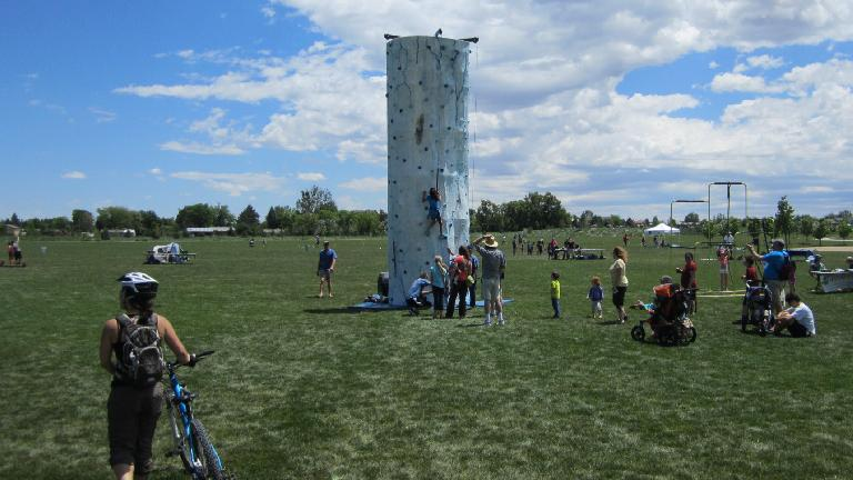 Portable climbing wall at Outdoor Day at nearby Cottonwood Park.