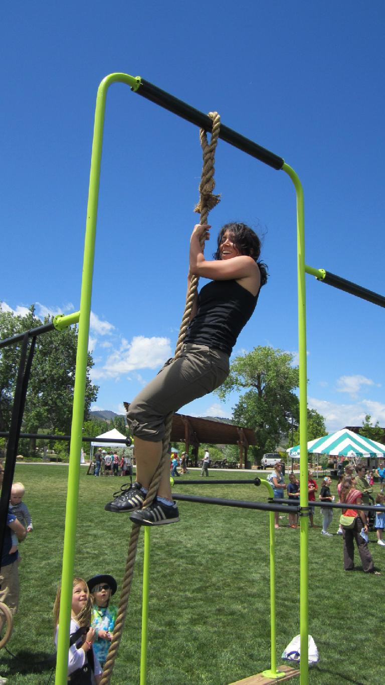 Lauren at the top of the rope.