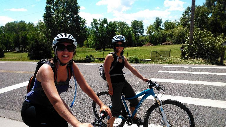 Diana and Lauren on Diana's first off-road mountain bike ride ever.