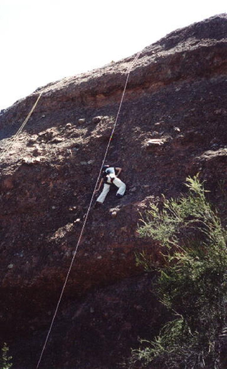 Sarah on the wall, almost halfway up!