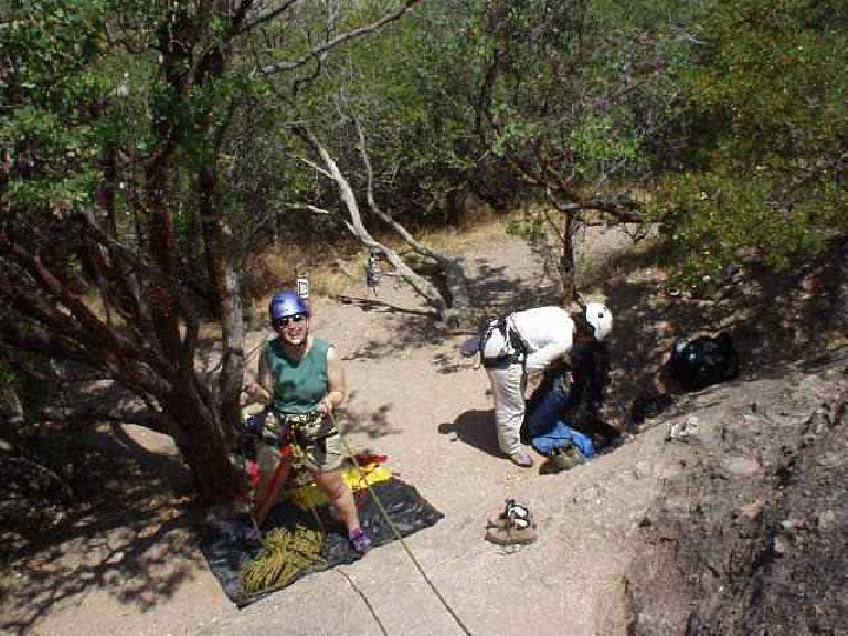 Vinita and I met up with Suzie and Loren at The Sisters.  Here's Suzie belaying Loren and Vinita getting ready to climb.