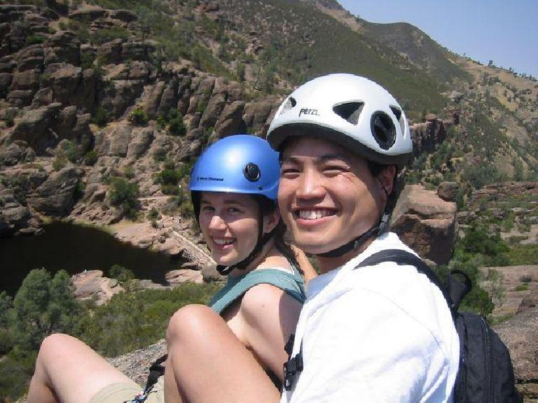 Suzie and Loren at the top of the First Sister. Photo: Loren Cheng.
