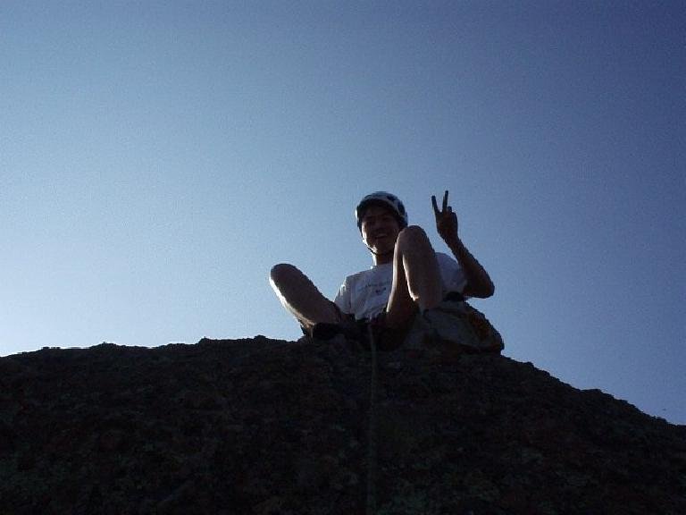 "Loren lowering me from the top, thinking ""peace""."