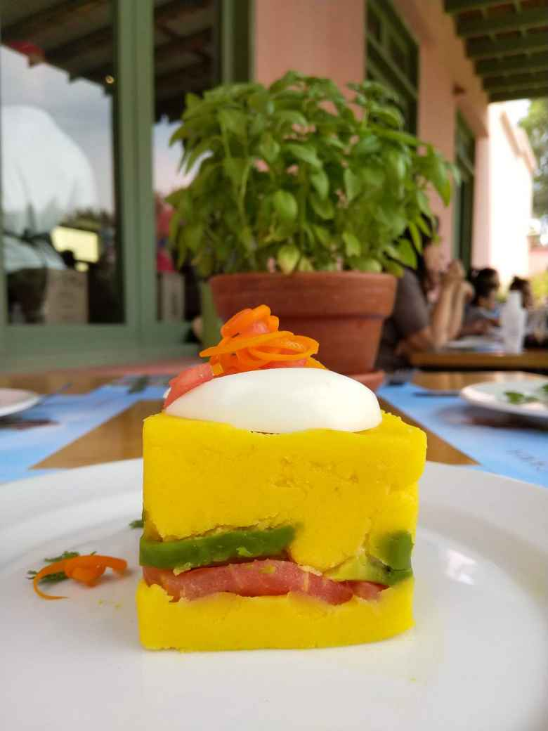 We ate causa at the Tacama winery, made from yellow potatoes.