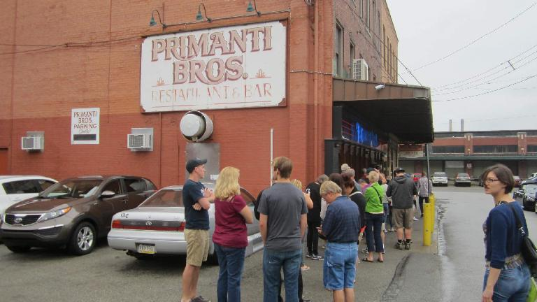 Long line for sandwiches at Primanti Brothers. (July 19, 2014)