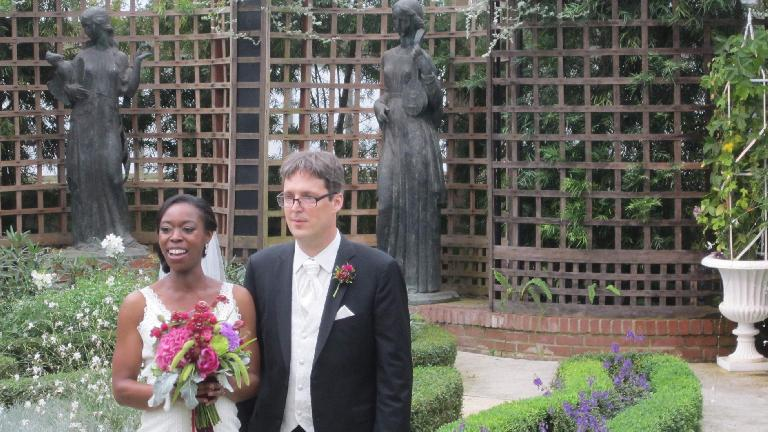 Kristina and Juergen getting married inside the Phipps Conservatory. (July 19, 2014)