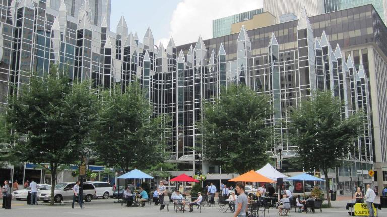 A square in downtown Pittsburgh. (July 21, 2014)