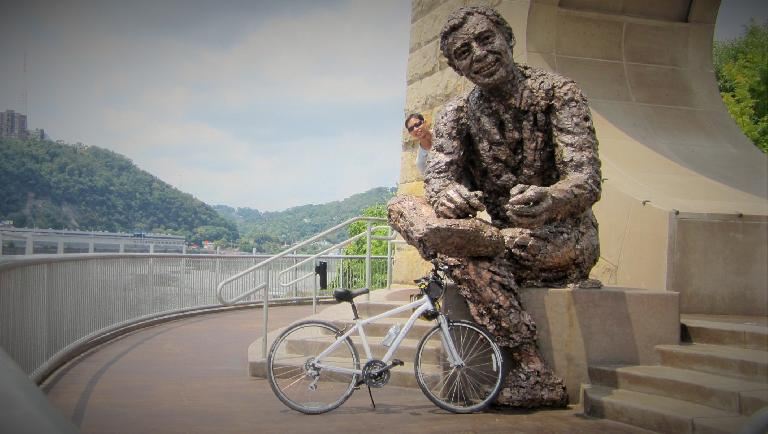 I rented a bike to bike through downtown Pittsburgh, Point State Park, and over to North Side to visit Mr. Rogers. (July 21, 2014)
