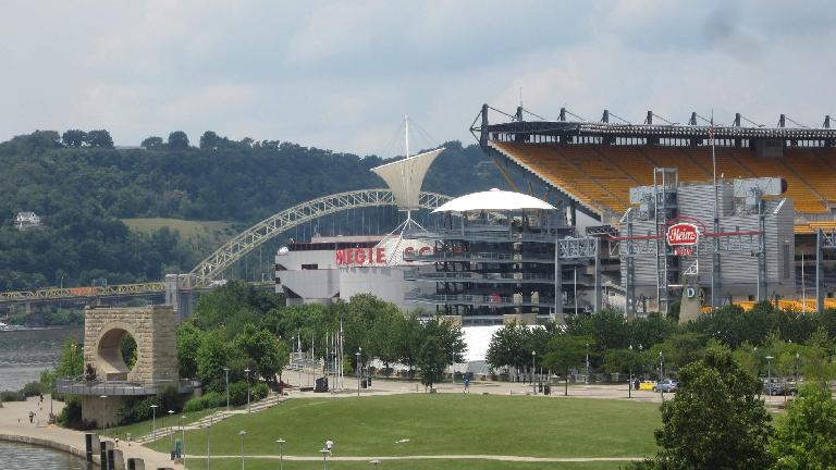 The Mr. Rogers Memorial (lower left) in front of Heinz Field and the Carnegie Science Museum. (July 21, 2014)