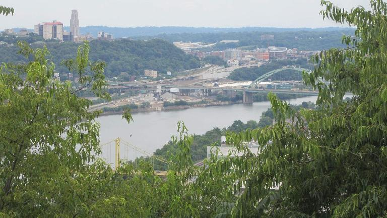 The view of downtown Pittsburgh from Emerald View Park. (July 21, 2014)