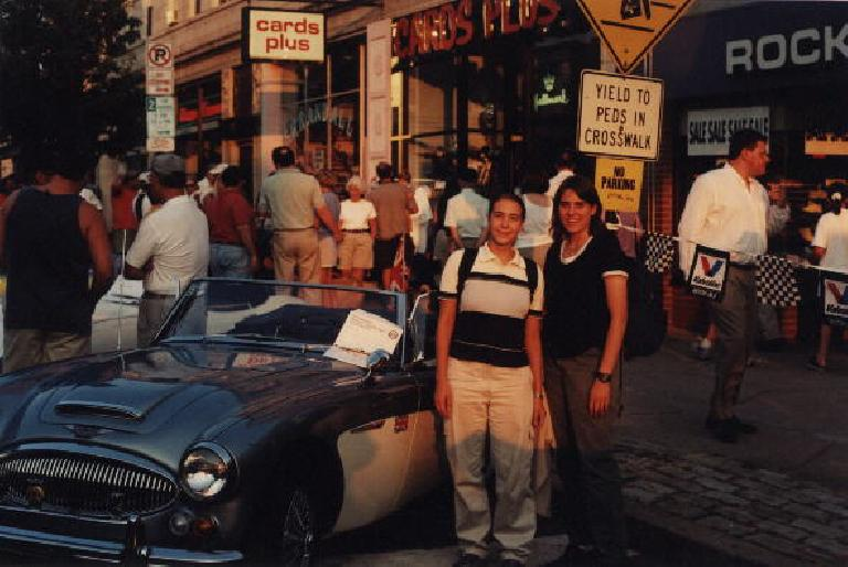 Carolyn, Kat and an Austin Healey at a random car show in front of Lemongrass.  This is the evening I first met Carolyn.