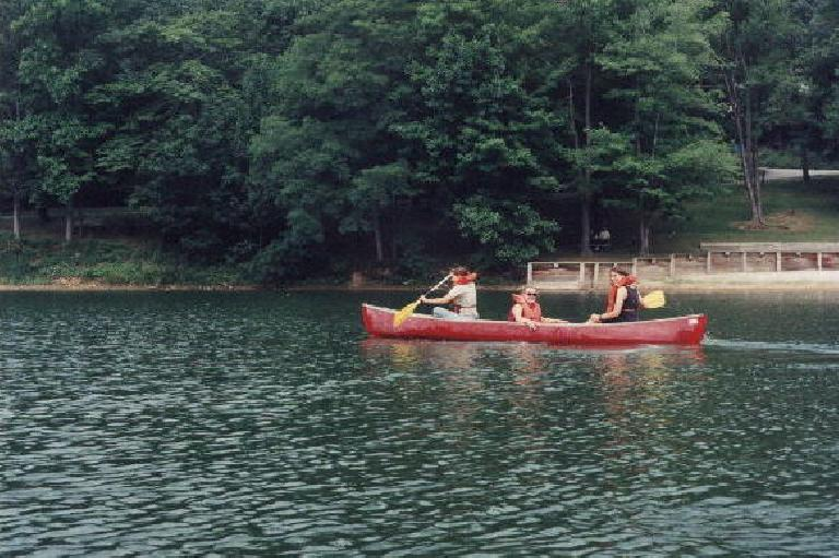 "The girls canoeing, just minutes before Davey, Yan and I capsized our canoe. ""It was Yan!"" claimed Davey. (July 18, 1999)"