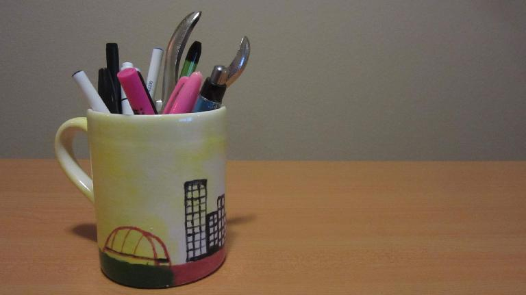custom painted mug of Pittsburgh