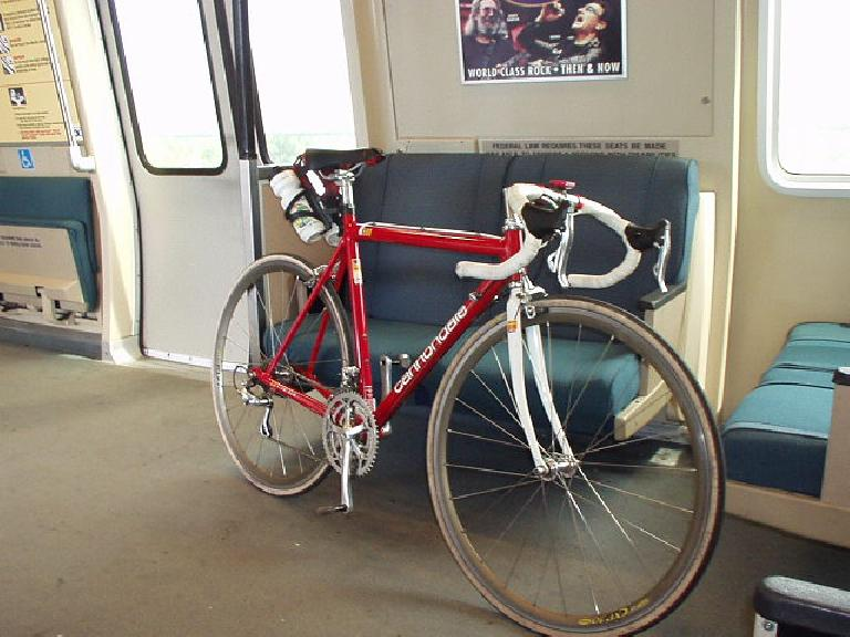 """I'm not used to getting a ride in closed quarters,"" thinks Canny, my faithful 'dale, taking a ride on the BART from Fremont to Pleasanton."