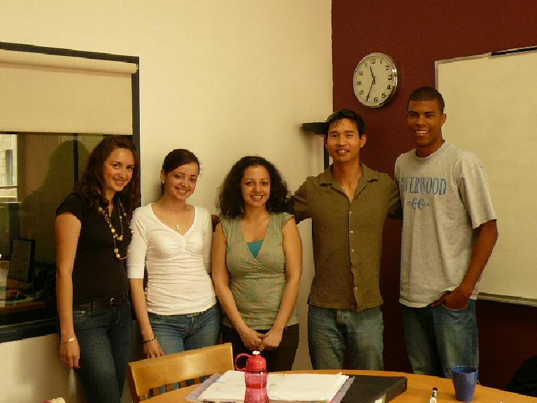 My French grammar class: Anna, Mariana, professeur Roula, Felix, and Eric.