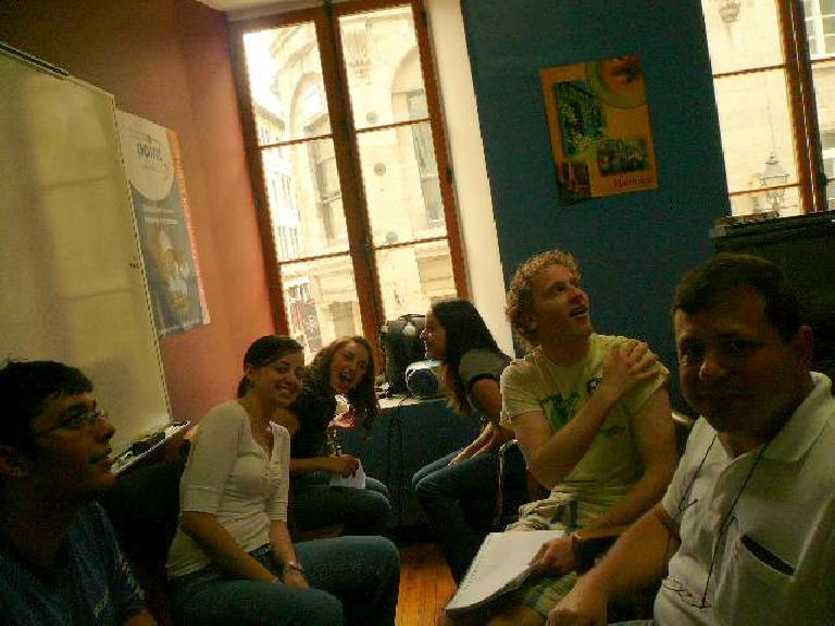 During the last French conversation class I had, we interacted with the advanced French students.