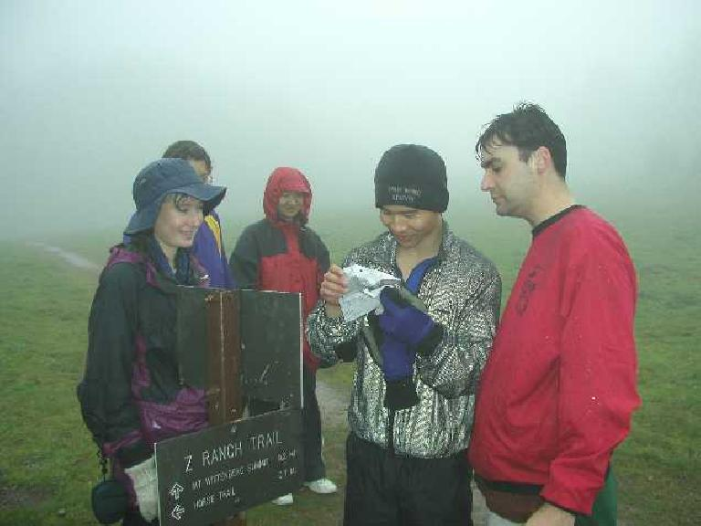 Felix Wong and others checking the map after a couple of wrong turns. Photo: Adrian Mikolajczak.