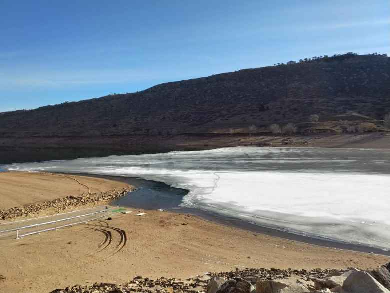 The Horsetooth Reservoir South Bay was quite frozen over before the 2019 Polar Bear Run and Plunge.