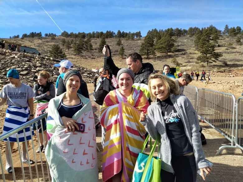 Kristina, Sarah, and Emily minutes before doing the 2019 Polar Bear Plunge.
