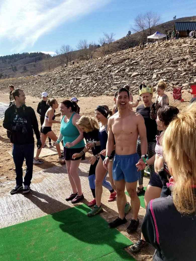 Sara, Emily, Kristina, Felix, and Jennifer moments away from doing the 2019 Polar Bear Plunge at the Horsetooth Reservoir South Bay in Fort Collins.