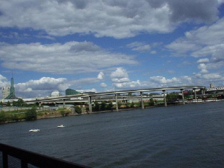 The easterly view across the Willamette River from one of the bridges.. (July 13, 2003)