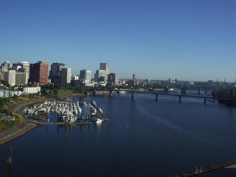 A view of the downtown Portland waterfront from one of the bridges we rode on.