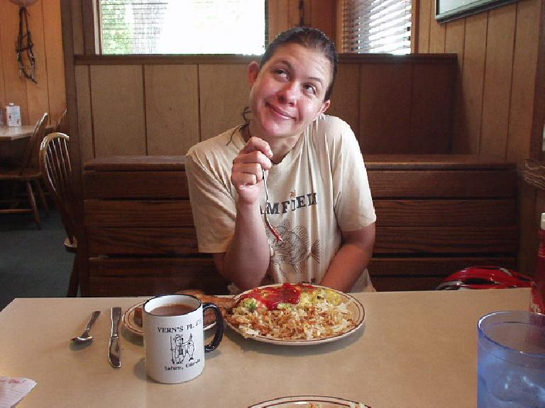 After about 8 or so miles, we stopped at Vern's diner for some breakfast.