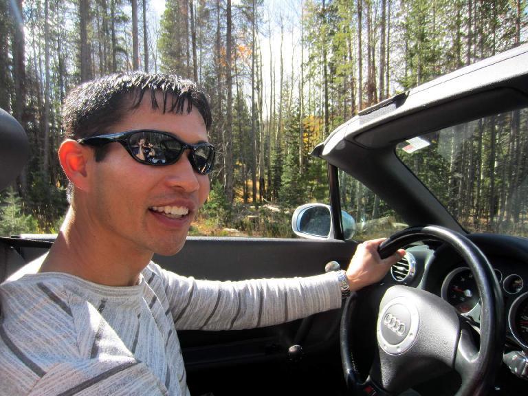 Felix Wong enjoying the view behind Teeter's steering wheel.