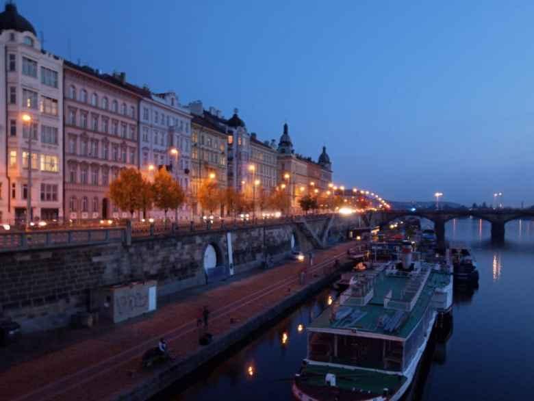 The Vltava River through the Prague 2 district at night.
