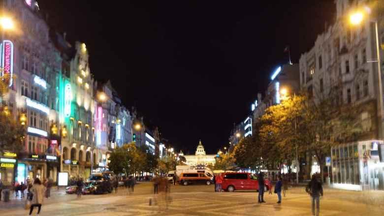 Pedestrian square near Mustek in Prague.