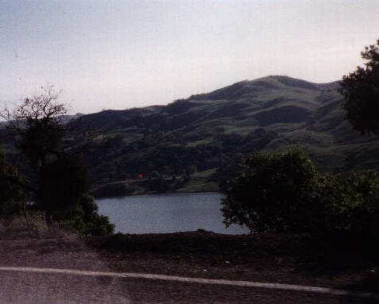 The Calaveras Reservoir down below.
