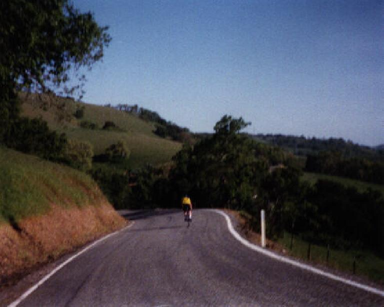 Following a strong rider who was on an old ten-speed and blasting through the winding backroads by the Calaveras Reservoir.