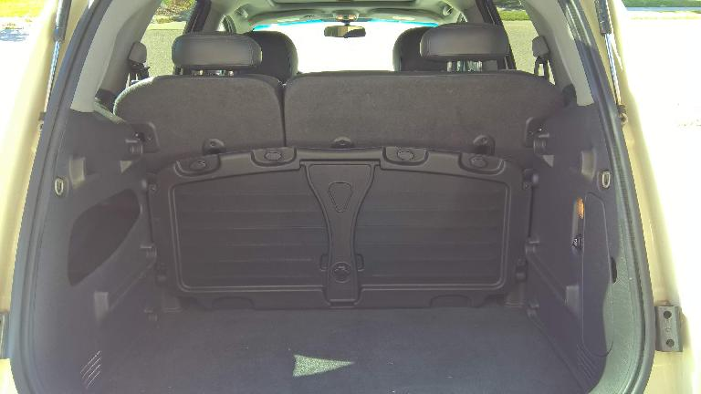 The PT Cruiser's parcel shelf stowed away in a vertical position.