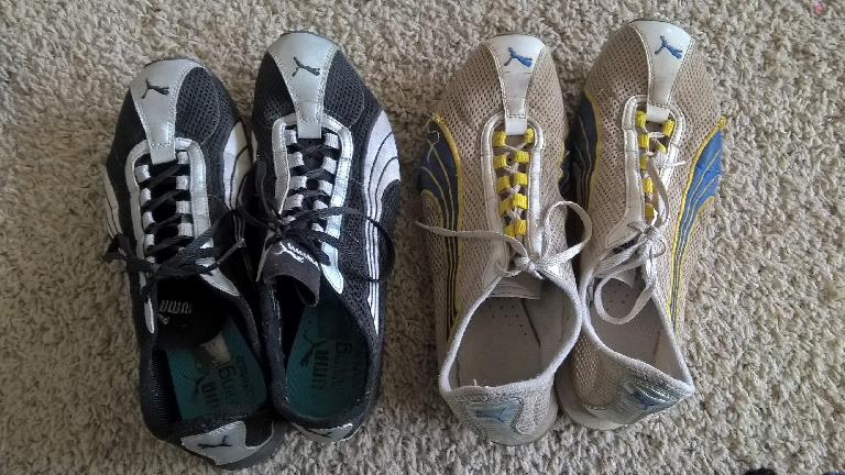 black and silver Puma H-Street shoes, white and yellow and blue Puma H-Street shoes