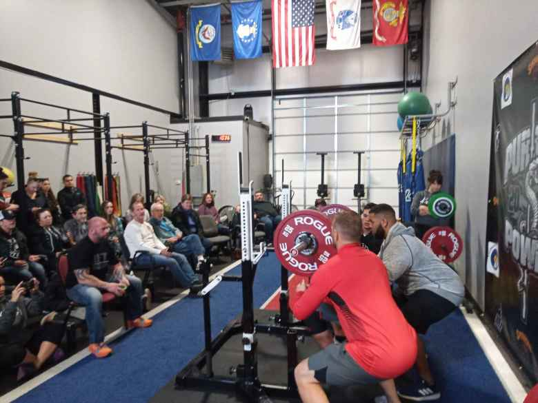 There were three spotters for squats during Pursuit Power 2020.