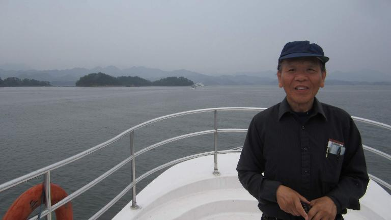 My dad on the cruise ship at Thousand Island Lake.