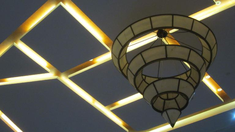 Ceiling detail at the lobby of the ZTG Resort Thousand Island Lake hotel. (May 21, 2014)