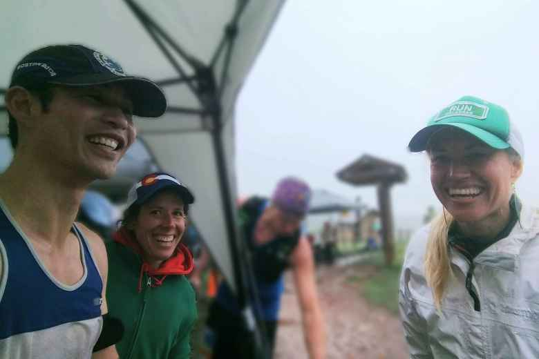 Felix with Jennifer and Amber, who were volunteering at the Arthur's Rock Trailhead aid station.